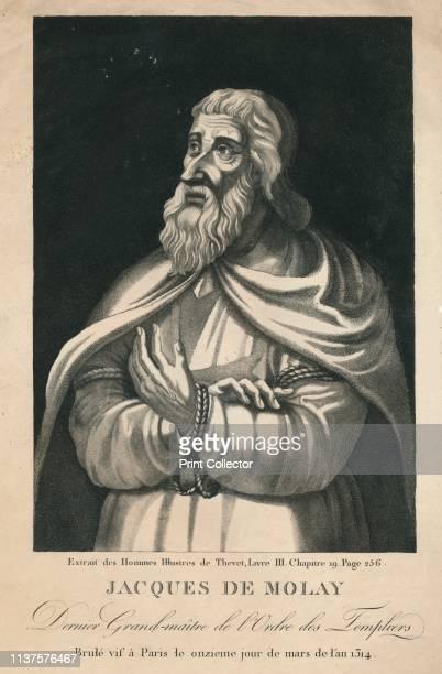 Jacques De Molay Dernier Grandmaître de l'Ordre des Templiers' Portrait of Jacques de Molay last Grand Master of the Knights Templar 'Brulé vif à...