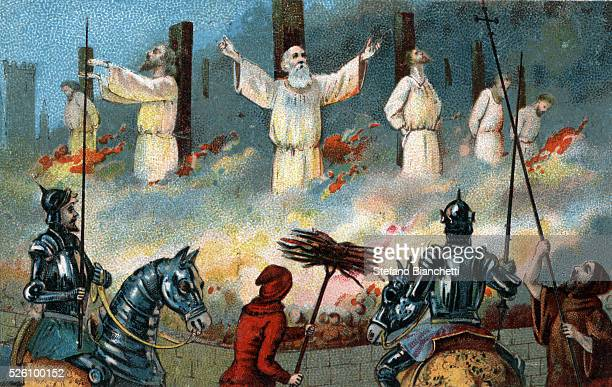 Jacques de Molay last Grand Master of the Knights Templar was ordered burned at the stake by King Philip IV of France Illustration from the end of...
