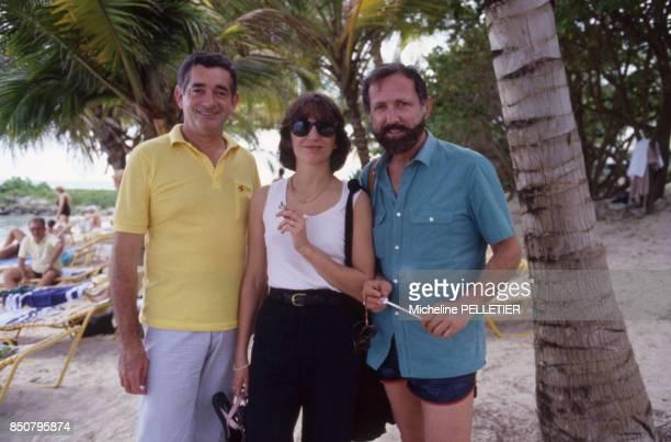 Jacques Demy Christine Pascal et Michel Drach en Guadeloupe le 13 novembre 1984 France