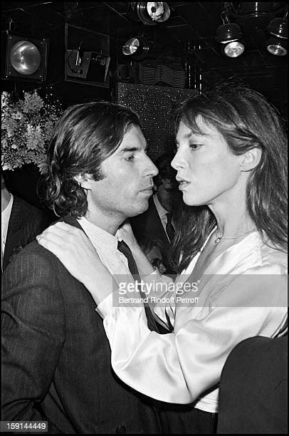Jacques Doillon and Jane Birkin attend the 13th wedding anniversary party of Regine and Roger Choukroun at Regine's night club in Paris in 1981