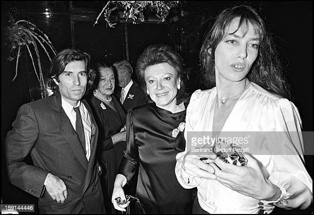 Jacques Doillon singer Regine and Jane Birkin attend the 13th wedding anniversary party of Regine and Roger Choukroun at Regine's night club in Paris...