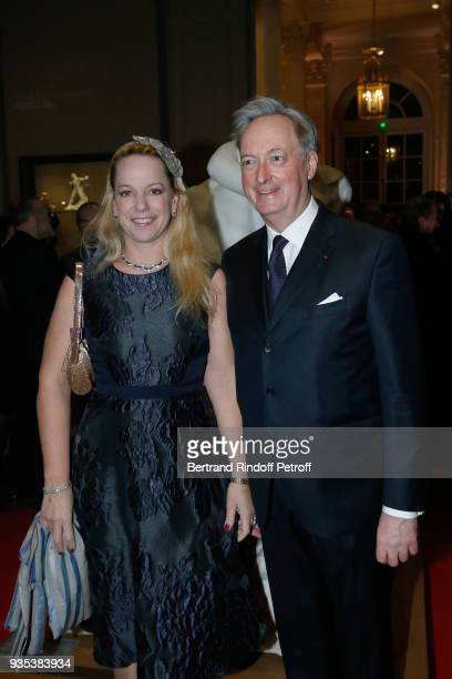 Jacques Emmanuel de Crussol duc d'Uzes and his wife Alessandra Passerin d'Entreves et Courmayeur attend the Reception given by LLAARR GrandDuc Henri...