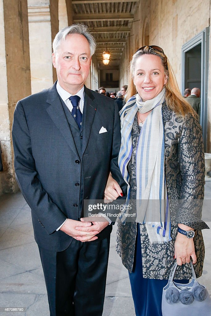 Jacques Emmanuel de Crussol, duc d'Uzs and his wife Alessandra Passerin d'Entrves et Courmayeur attend the mass given in memory of the 100 year anniversary of Prince Ernest Charles D'Arenberg's death in the First World War at Les Invalides on March 20, 2015 in Paris, France.