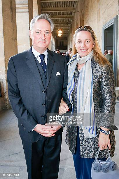 Jacques Emmanuel de Crussol duc d'Uzs and his wife Alessandra Passerin d'Entrves et Courmayeur attend the mass given in memory of the 100 year...