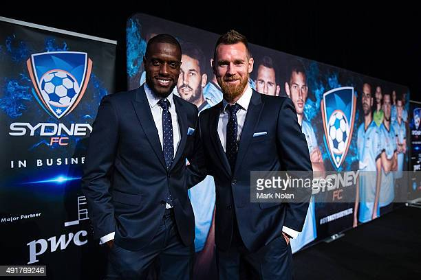 Jacques Faty and Shane Smeltz of Sydney FC pose during the Sydney FC ALeague season launch at The Westin hotel on October 8 2015 in Sydney Australia