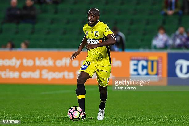 Jacques Faty of the Central Coast Mariners controls the ball during the round one ALeague match between the Perth Glory and the Central Coast...