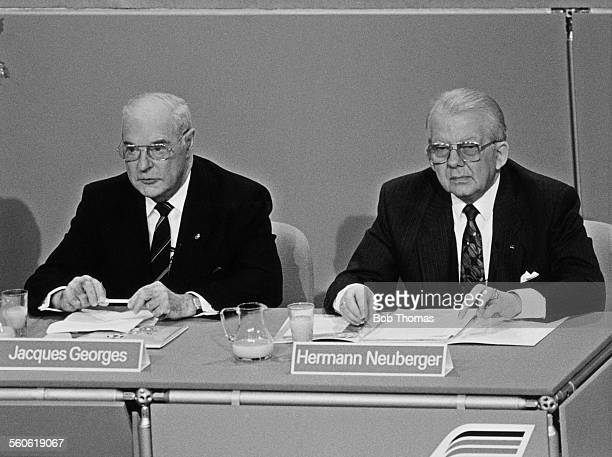Jacques Georges President of UEFA and Hermann Neuberger President of the West German Football Association at the European Championship draw in...