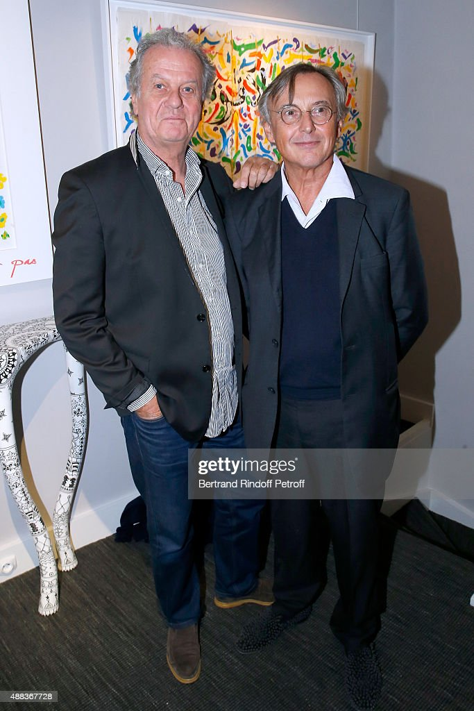 Jacques Grange and Pierre Passebon attend the 'Paintings Poems from Tahar Ben Jelloun - Furniture Scriptures from C.Saccomanno & O.Dayot' : Press Preview at Galerie du Passage on September 15, 2015 in Paris, France.