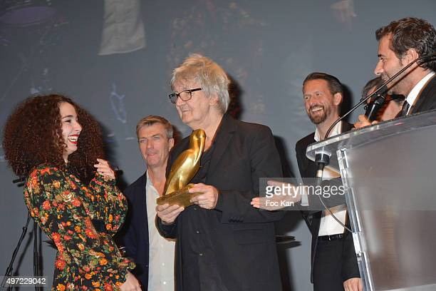 Jacques Higelin and La Baule Fesival 2015 awarded best actress Baya Medhaffar Bernard Montiel Philippe Caroit and Sam Bonino attend the 'Cinema Et...