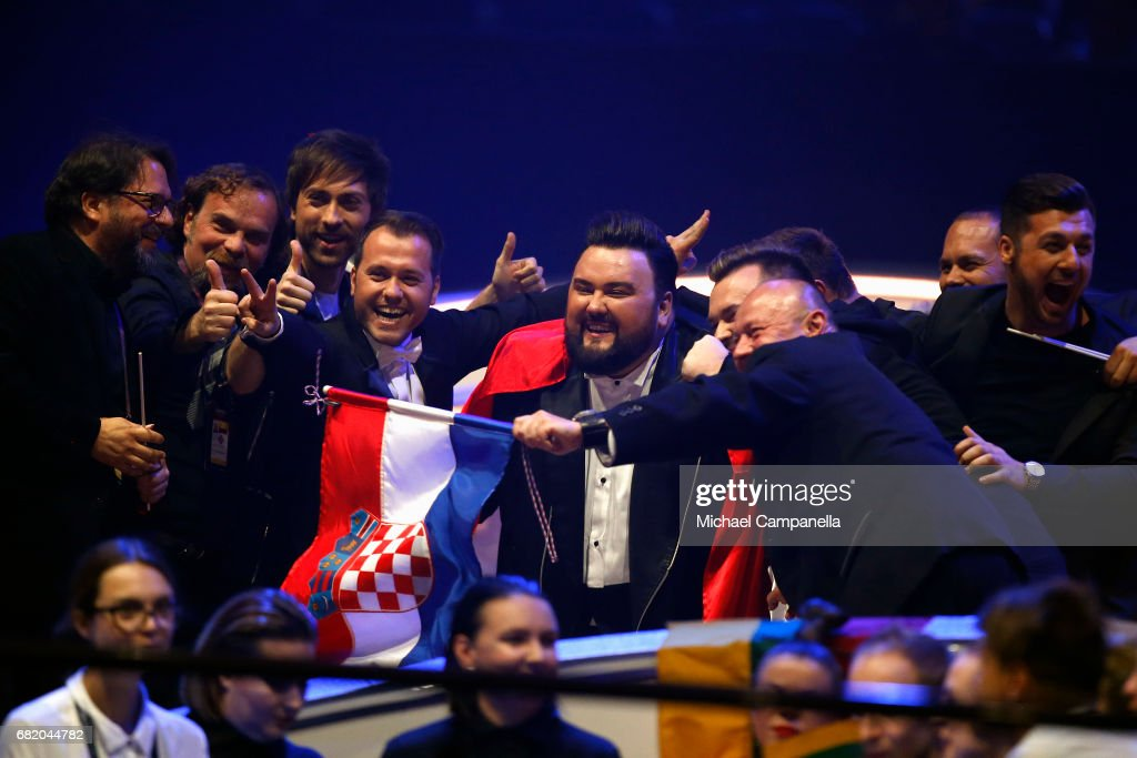 Jacques Houdek representing Croatia reacts to making it to the Grand Final during the second semi final of the 62nd Eurovision Song Contest at International Exhibition Centre (IEC) on May 11, 2017 in Kiev, Ukraine. The final of this years Eurovision Song Contest will be aired on May 13, 2017.