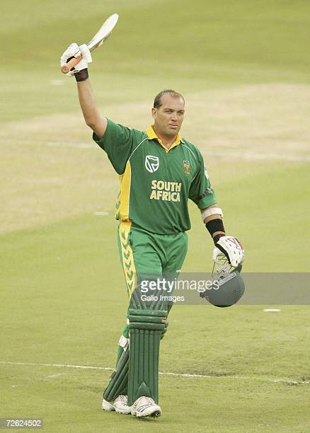 Jacques Kallis celebrates making a 100 during the Second One Day International between South Africa and India at Kingsmead Stadium on November 22...