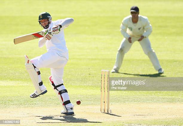 Jacques Kallis of South Africa bats during day three of the First Test match between New Zealand and South Africa at the University Oval on March 09,...