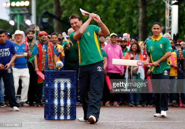 Jacques Kallis of South Africa bats during the ICC Cricket World Cup 2019 Opening Party at The Mall on May 29, 2019 in London, England.