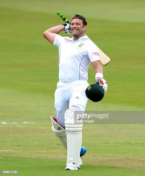 Jacques Kallis of South Africa celebrates his 45th century in his final test match during day 4 of the 2nd Test match between South Africa and India...