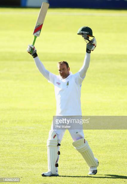 Jacques Kallis of South Africa celebrates his century during day three of the First Test match between New Zealand and South Africa at the University...