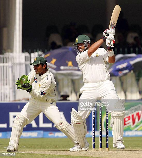 Jacques Kallis of South Africa hits out during day one of the second test match between Pakistan and South Africa, held at the Gaddafi Stadium on...