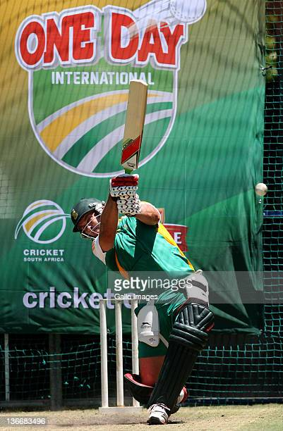 Jacques Kallis of South Africa in action during a South African nets session at Sahara Park Newlands on January 10 2012 in Cape Town South Africa
