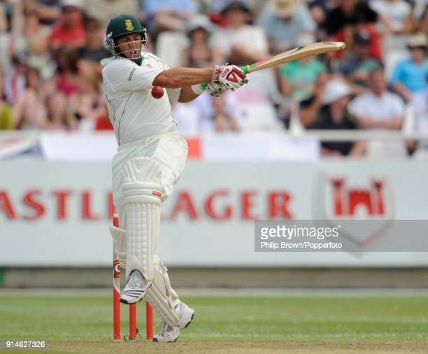Jacques Kallis of South Africa is struck a ball bowled of England's Graham Onions while batting in the 3rd Test match between South Africa and...