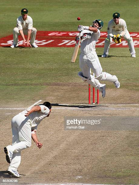 Jacques Kallis of South Africa jumps away from a short ball from Mitchell Johnson of Australia during day four of the Second Test between South...