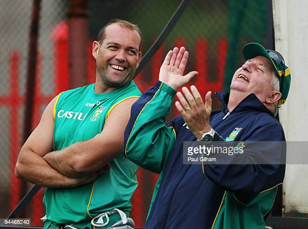 Jacques Kallis of South Africa shares a joke with Duncan Fletcher during a South Africa Nets Session at Centurion Park on December 15, 2009 in...