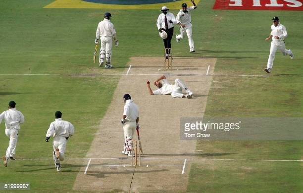 Jacques Kallis of South Africa takes a diving catch to dismiss Graham Thorpe of England during day four of the 4th Test between England and South...