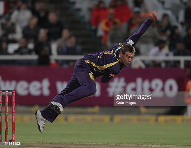 Jacques Kallis of the Kolkata Knight Riders bowls during the Karbonn Smart CLT20 match between Kolkata Knight Riders and Auckland Aces at Sahara Park...