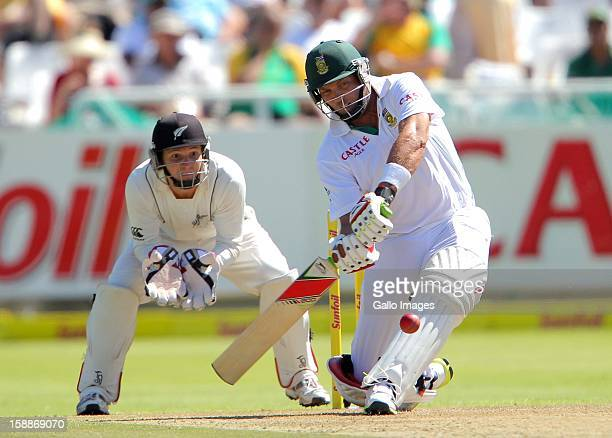 Jacques Kallis of the Proteas bats on his way to becoming only the fourth batsman in history to score 13,000 runs in Test cricket during day 1 of the...