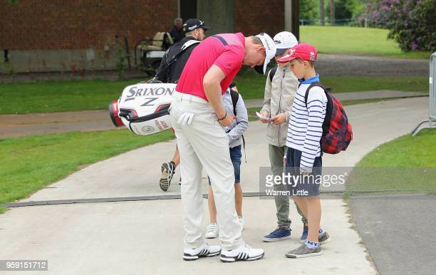 Jacques Ktuyswijk of South Africa signs autographs ahead of the Belgian Knockout at the Rinkven International GC on May 16 2018 in Antwerpen Belgium