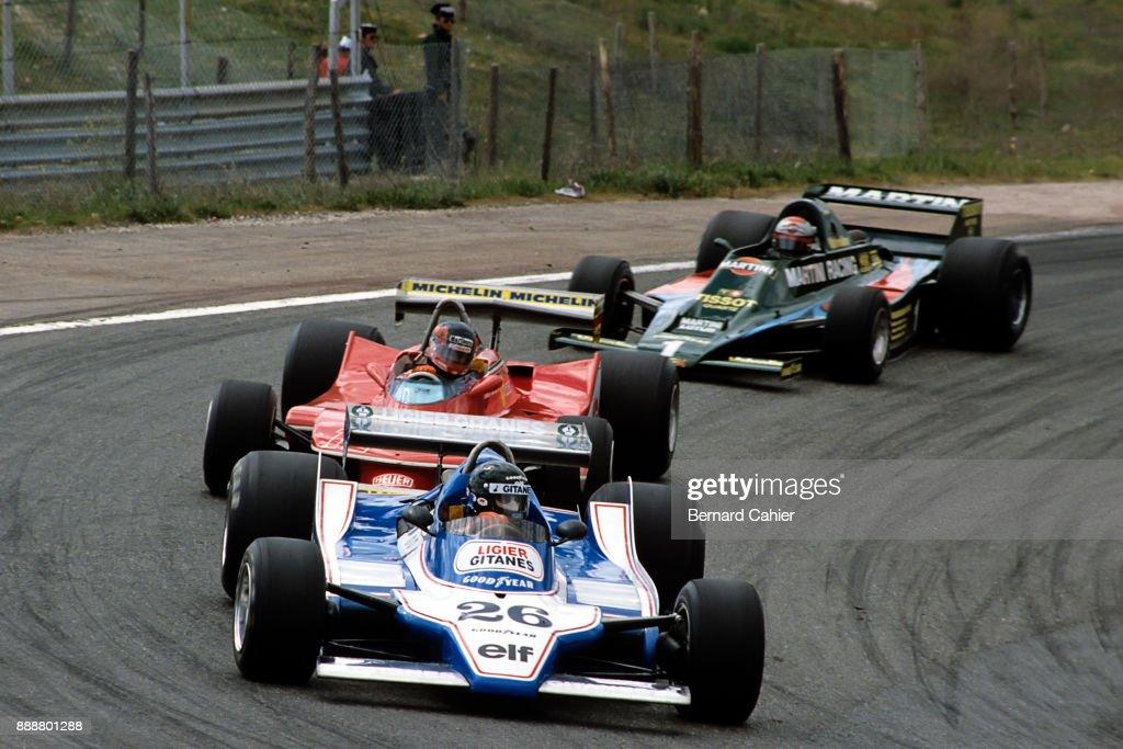 Jacques Laffite, Gilles Villeneuve, Mario Andretti, Ligier-Ford JS11, Ferrari 312T4, Lotus-Ford 80, Grand Prix of Spain, Circuito del Jarama, 29 April 1979.