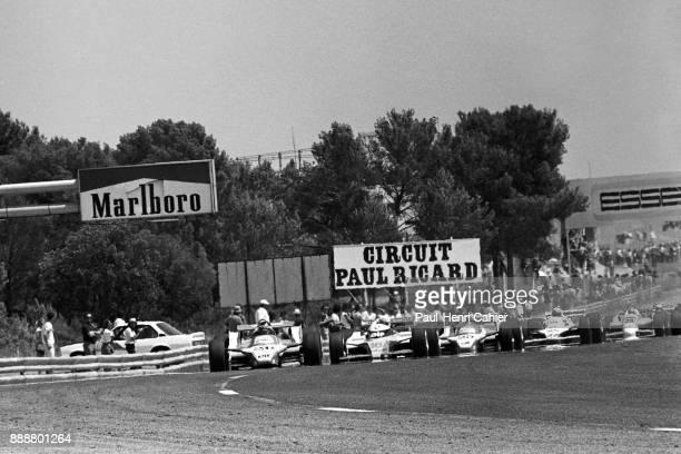 Jacques Laffite, René Arnoux, Didier Pironi, Alan Jones, Ligier-Ford JS11/15, Grand Prix of France, Circuit Paul Ricard, 29 June 1980. Jacques...