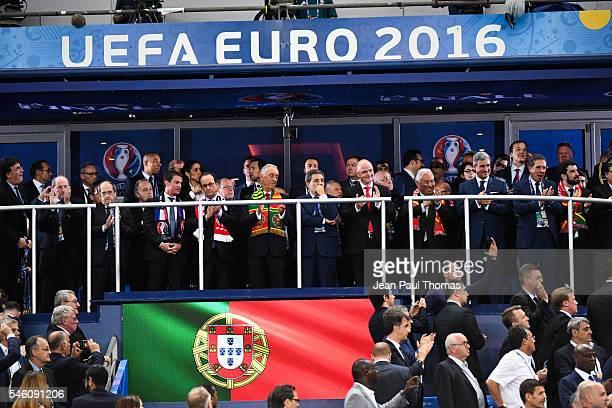 Jacques Lambert, Manuel Valls, Noel Le Graet, Francois Hollande and Prince Albert of Monaco, Portugal President Marcelo Rebelo de Sousa , Portugal...