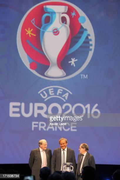 Jacques Lambert UEFA President Michel Platini and Noel Le Graet pose during EURO 2016 Logo Slogan Launch on June 26 2013 in Paris France