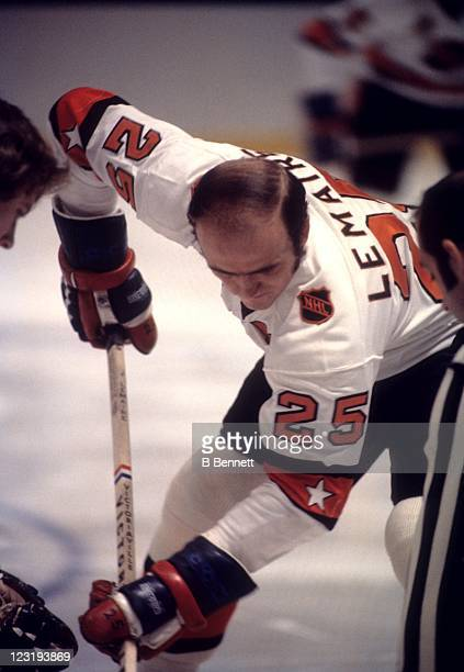 Jacques Lemaire of the Montreal Canadiens and Team East faceoffs during the 26th NHL AllStar Game against Team West on January 30 1973 at the Madison...