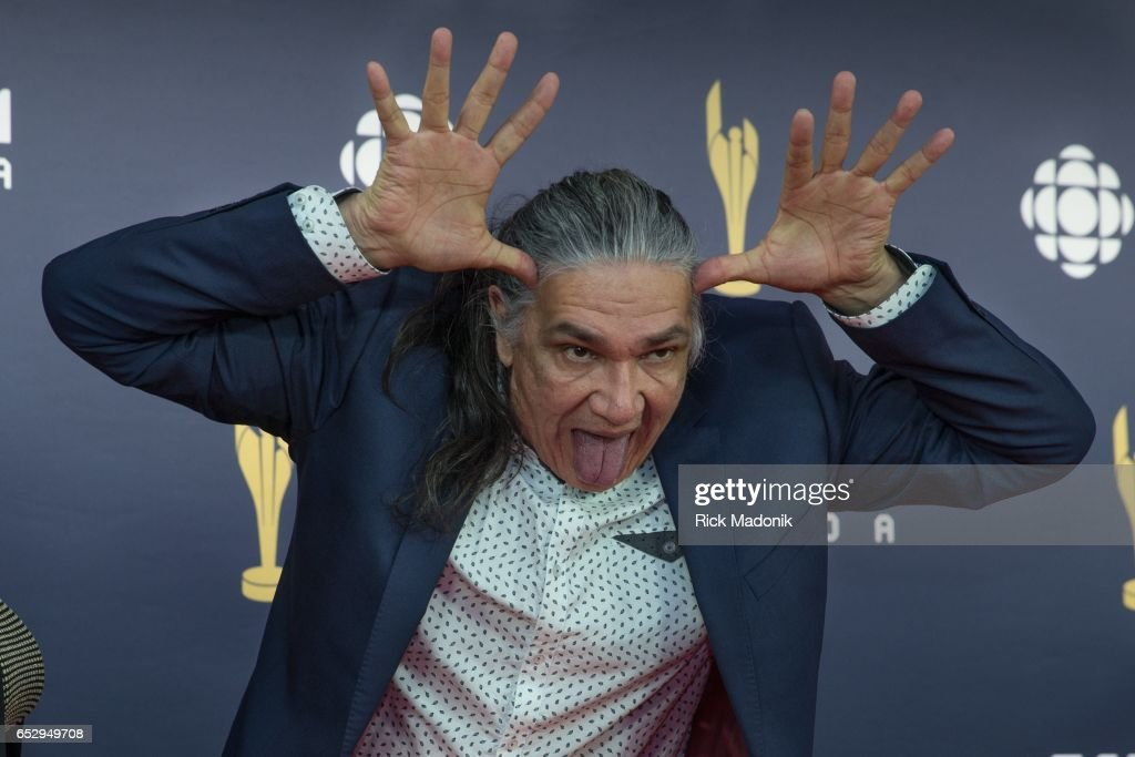 Jacques Newashish has some fun with the photographers. Canadian Screen Awards red carpet at Sony Centre for the Performing Arts ahead of the show.