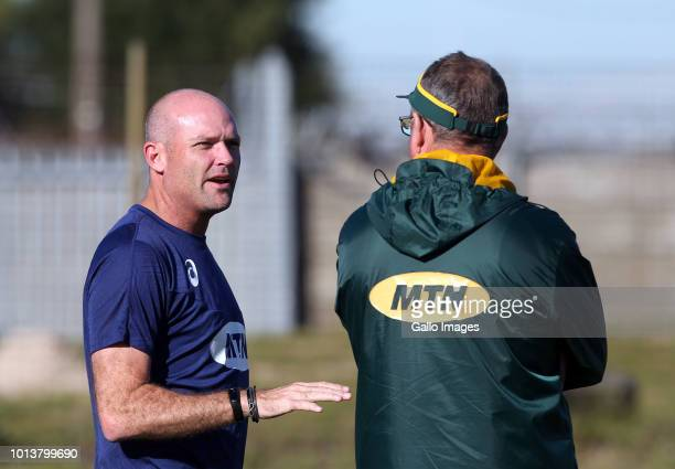 Jacques Nienaber during the Springbok Open Training Session and Fan Engagement at Belhar Rugby Club on August 09 2018 in Cape Town South Africa