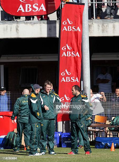 Jacques Nienaber Jean de Villers and Fourie du Preez during day 1 of the South African national rugby team training camp at Florida Park Ravensmead...