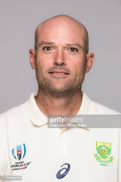 Jacques Nienaber of South Africa backroom staff poses for a portrait during the South Africa Rugby World Cup 2019 squad photo call on September 15...