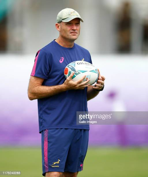 Jacques Nienaber of South Africa during the South African national rugby team training session at Kolbelco Steelers Rugby Grounds on October 11 2019...