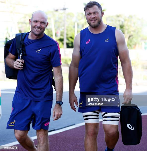 Jacques Nienaber of South Africa with Duane Vermeulen during the South African national rugby team training session at Arcs Urayasu Park on September...