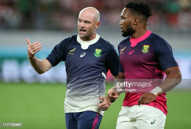 Jacques Nienaber of South Africa with Lukhanyo Am of South Africa during the Rugby World Cup 2019 Quarter Final match between Japan and South Africa...