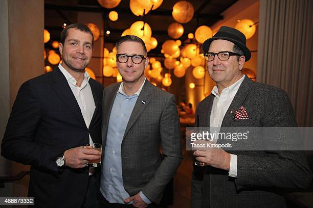 Jacques Panis President of Shinola David Syrek of the Chicago Tribune and David Csicsko of David Lee Csicsko attend Jason Binn's DuJour Magazine's...