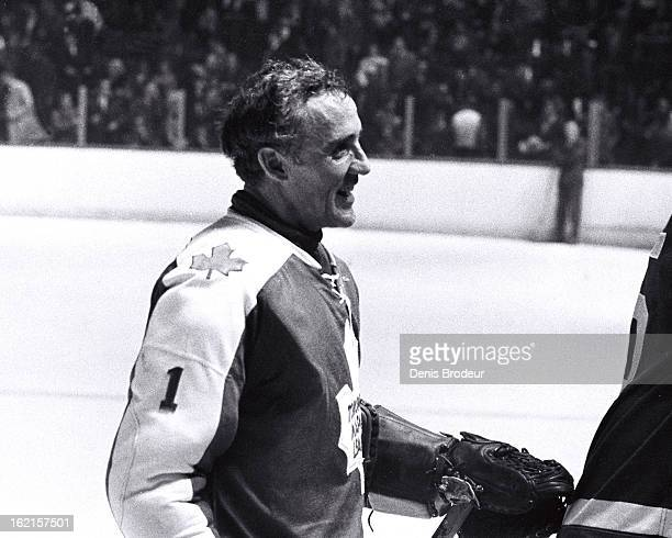 Jacques Plante of the Toronto Maple Leafs looks on after a game at the Montreal Forum circa 1972 in Montreal Quebec Canada
