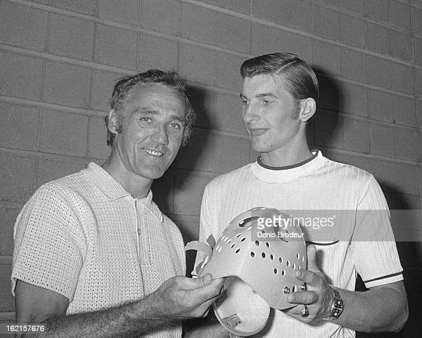 Jacques Plante poses for a photo with Vladislav Tretiak of the Soviet Union prior to the start of the Summit Series circa the 1972 in Montreal Quebec...