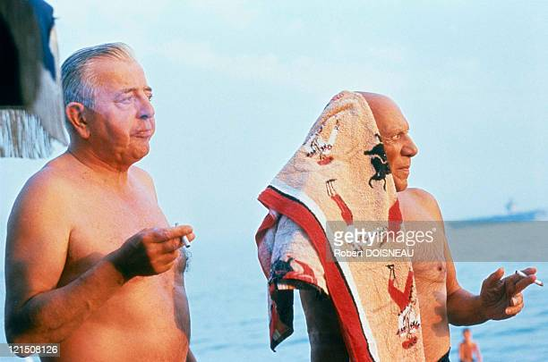 Jacques Prevert And Picasso In Antibes In 1963