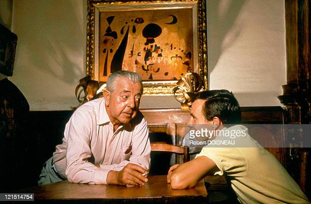 Jacques Prevert With Francis Rouy At 'La Colombe D'Or' In Saint Paul De Vence