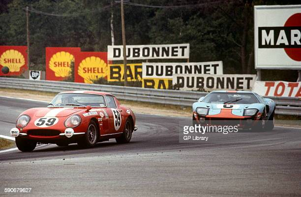 59 Jacques Rey Claude Haldi Ferrari 275 GTB 6 Ford GT40 Gulf JW team car of Jacky ickx and Jackie Oliver which won the race at Mulsanne Corner 15th...