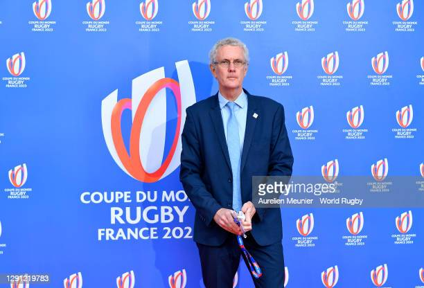 Jacques Rivoal - GIP France 2023 President arrives prior to the Rugby World Cup France 2023 draw at Palais Brongniart on December 14, 2020 in Paris,...