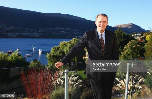 Jacques Rogge President of the International Olympic Committee stands outside the home of Eion Edgar President of the New Zealand Olympic Committee...