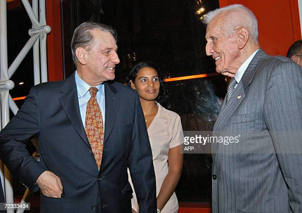 Jacques Rogge President of the Olympic International Committee is welcomed by Jose Ramon Fernandez president of the Cuban Committee at the Jose Marti...