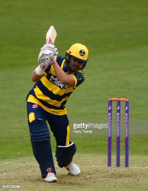 Jacques Rudolph of Glamorgan bats during the Royal London OneDay Cup match between Glamorgan and Surrey at the Swalec Stadium on April 30 2017 in...